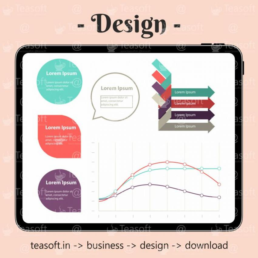 Online Chart Graphic 3 Illustration Vector Design template