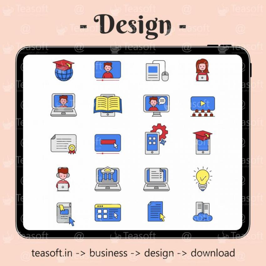 Online Education Icons Illustration Vector Design template