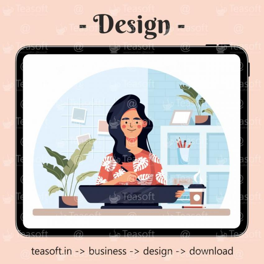 Girl Drawing in Ipad Illustration Vector Design template