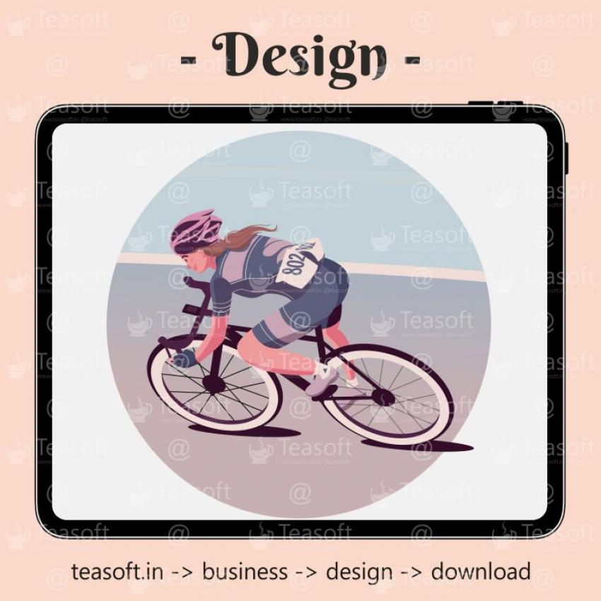 Girl Cycle Racing Illustration Vector Design template