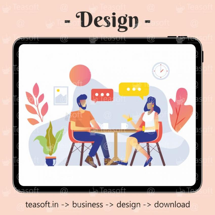 Lovers Cafe Chatting Illustration Vector Design template
