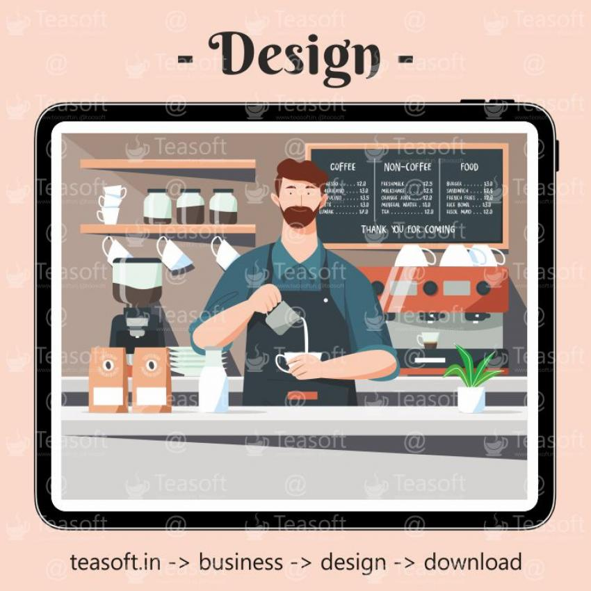 Coworking Cafe Coffee Illustration Vector Design template