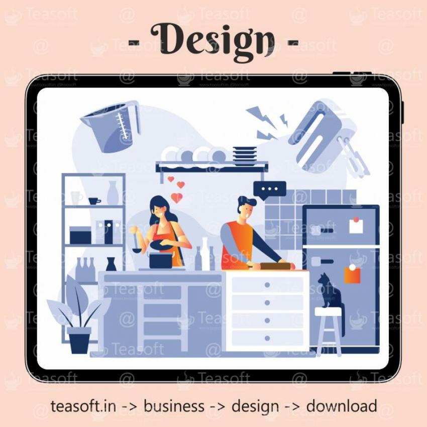 Wife Husband Cooking Illustration Vector Design template